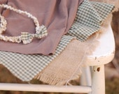 Four Piece Newborn Layering Set with Tie-Back and Knit Wrap... Burlap Cotton Photography Prop