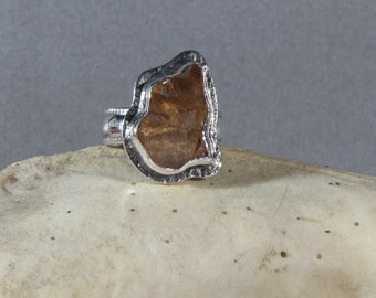 Grossular Garnet Crystal Cluster in Sterling Silver Ring Size 6