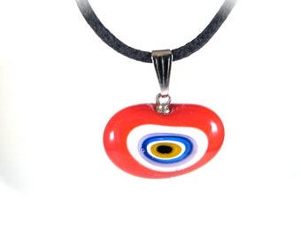 Red Love Bean Evil Eye Pendant Necklace