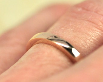 Tall Wedding Band, 14K Rose Gold 2.5mm Wide by 2mm Thick Stacking Ring, Sea Babe Jewelry