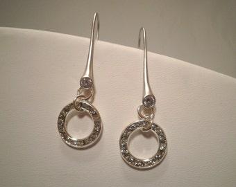 Silver Crystal Dangle Earrings