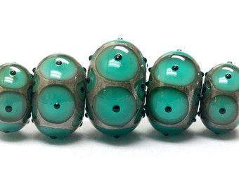 Five Graduated Ocean Blue w/Black Dots Rondelle Beads - Handmade Glass Lampwork Beads - 10503801
