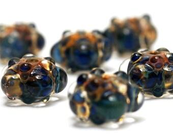 Handmade Glass Lampwork Bead Sets - Six Blue & Orange Rondelle Beads - Bubbly Raised 10409421 -