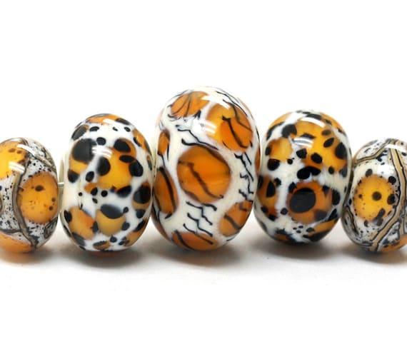 Handmade Glass Lampwork Bead Sets - Five Graduated Animal Print Rondelle Beads 10302611