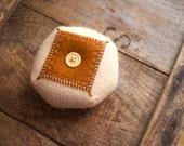 Peach and Rust  Wool Biscornu Penny Rug Pincushion : Biscornu Series