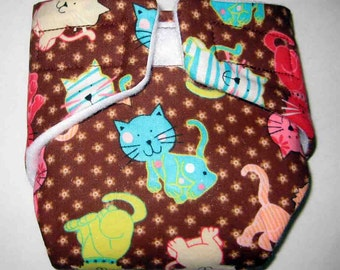 Baby Doll Diaper/Wipe-Adorable Cutie Cats-Fits Bitty Baby, Baby Alive, Cabbage Patch Dolls and More