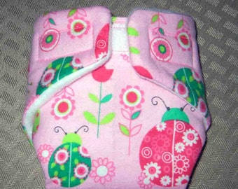Baby Doll Diaper-Summetime Ladybugs-Fits Bitty Baby, Baby Alive, Cabbage Patch Dolls and More.