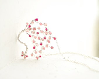 Cherry Blossom Necklace, Japanese Sakura Jewelry, Pink Flower Pendant, New Mom Gift