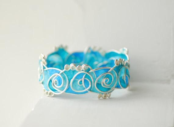 Ocean Surf Bangle in Sterling Silver, 1st Anniversary Paper Statement Jewelry Wearable Art, Blue Sea Ampersand Design, Waves Bracelet ...