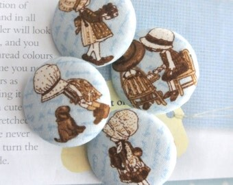 Handmade Rustic Light Blue Brown Country Doll Girl Children Fabric Covered Buttons, Doll Children Fridge Magnets, 1.25 Inches 4's