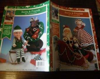 Crochet Christmas Dolls Crocheting Pattern Santa and Friends Fibre Craft FCM 473 Crochet Pattern Leaflet