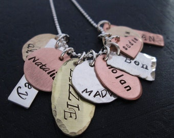 The Family Collection Necklace - handstamped necklace -  mixed metal grandmothers necklace