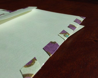 set of 4 upcycled mailing envelopes parcel type purple posie gold