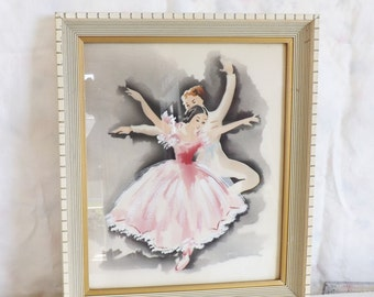 Vintage framed  airbrush watercolor painting original Harris painting ballet dancers shabby home decor pink ballerina pink tutu