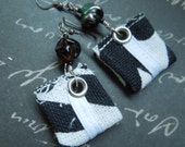 Black White Bohemian Repurposed Fabric Textile, Bumpy Black Glass Dangle Earrings on Sterling Silver Earwires