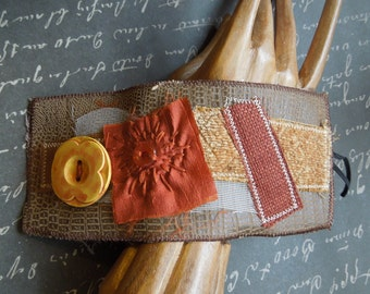 Brown, Rust Bohemian Textile Fabric Wrist Cuff with Wood Button