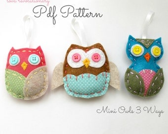 Felt Owl PDF Pattern Ornaments Hand Sewing Embroidery Beginner