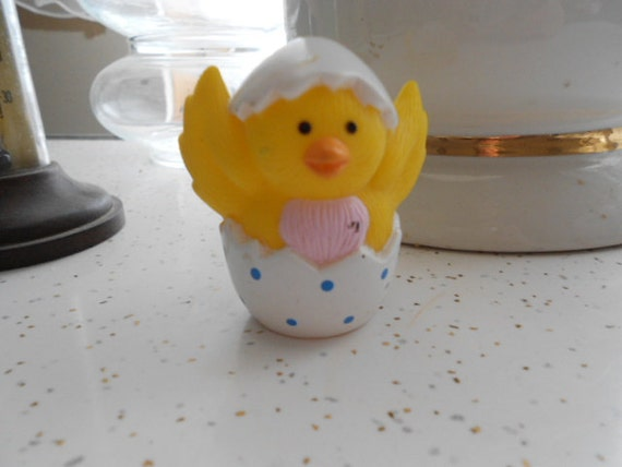 Vintage Rubber Baby Chick Hatching Out Of A Easter By