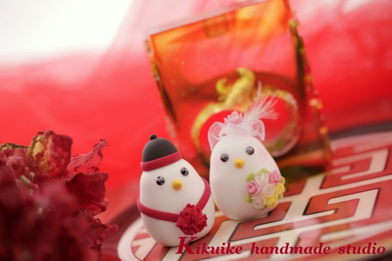 Chinese style wedding love birds,bride and groom wedding cake topper (K306)