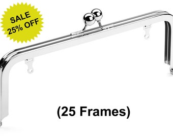 """25pcs - 8"""" x 3"""" Nickel Purse Frame with Large Ball Clasp and Chain Loops - Free Shipping (PURSE FRAME FRM-112)"""