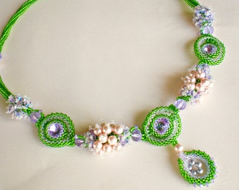 Rivoli Lavender Purple Pink Green Beadwoven Necklace Unique Beaded Beadwork Beadweaving Jewelry Shades of Scheherazade
