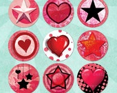 Pink Punk HEARTS & STARS Digital Collage Sheet 1in Circles - no. 0051