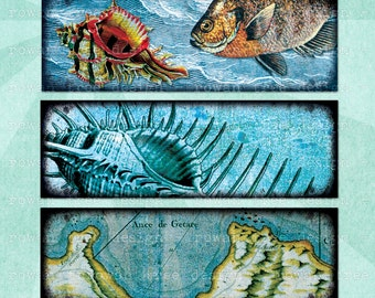 DEEP BLUE SEA Digital Collage Sheet 3x1in Microscope Slide Fish Shells Ships - no. 0094