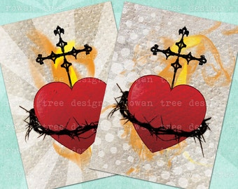 Digital Collage Sheet SACRED HEART 2.5x3.5in Christian Catholic - no. 0097