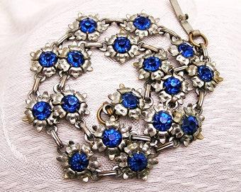 Vintage Blue Rhinestone Flower Necklace 1950s B1