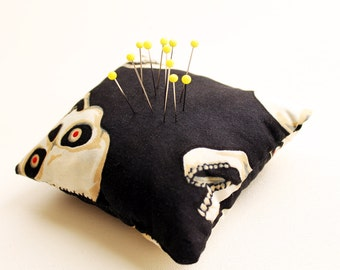 Eco Friendly Handmade Pincushion - Freaky Skulls - Kezbirdie