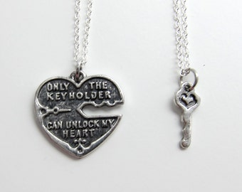 Unlock My Heart Silver Couple's Necklace - Heart and Key Couples Necklace  (R2E4)