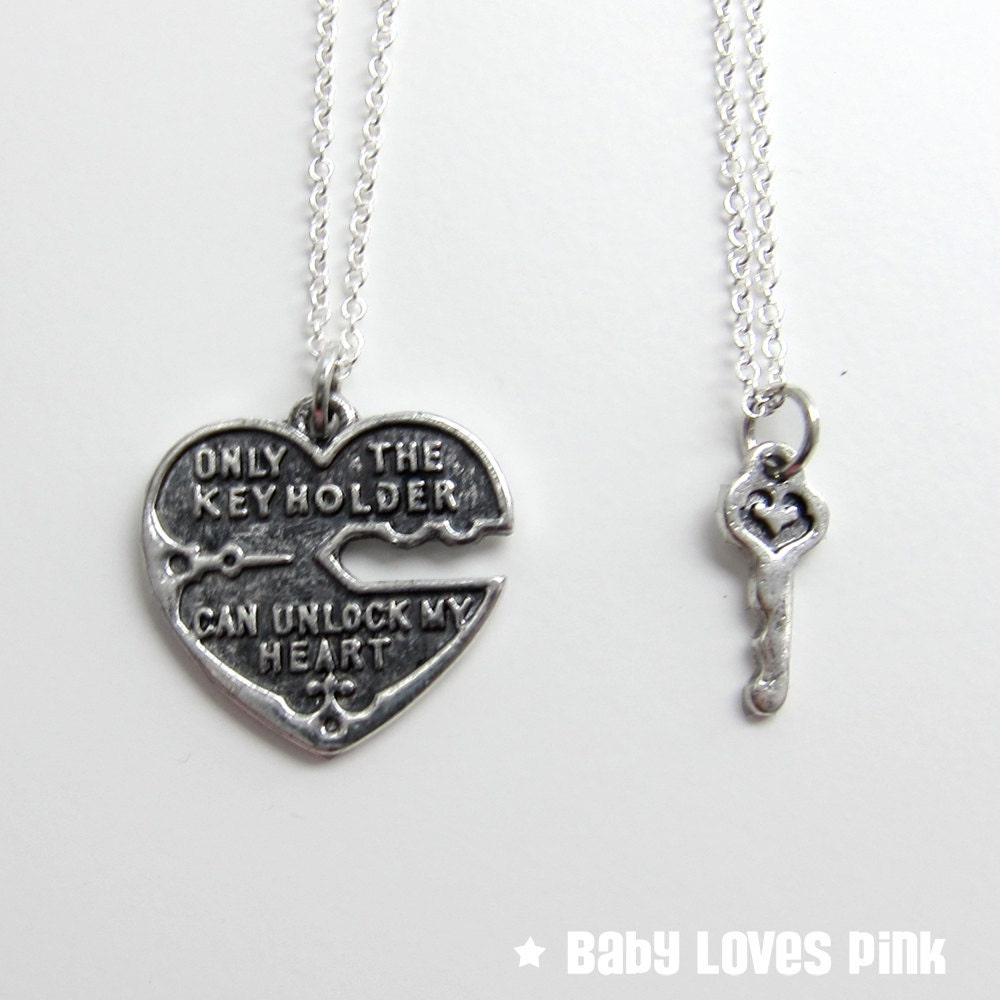 Unlock My Heart Silver Couple's Necklace Heart and Key