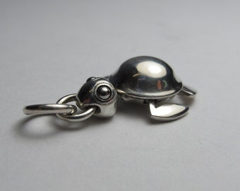 TURTLE NECKLACE moving arms and legs solid sterling silver with long brass ball chain