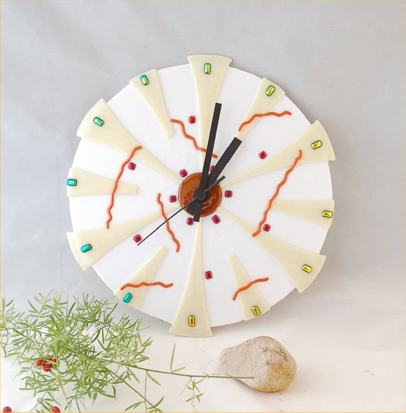 white wall clock fused glass with dichroic dots