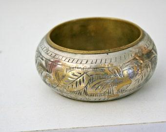 vintage 70s India Silver Over Brass Chunky Bangle Bracelet Etched Engraved Leaves Leaf Pattern