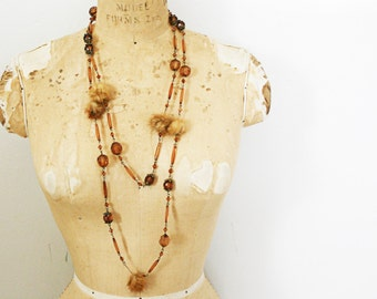 vintage 50s Mink Fur Balls and Cocoa Brown Beaded Extra Long Necklace