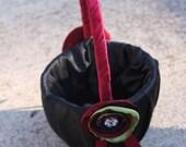 Deep Red, Black and Moss Flower Girl Basket
