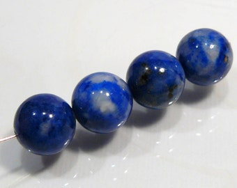 4 Beads....Blue Lapis Smooth Round Gemstone Beads....10mm...BB