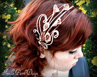 Ready to Ship/ Cala Liliy Headband Headpiece/ Statement  Jewelry/ Natural Copper/ custom made to order/ OOAK