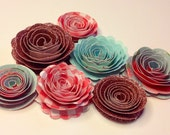 Handmade Spiral Flowers - Spring Rain - Set of Seven