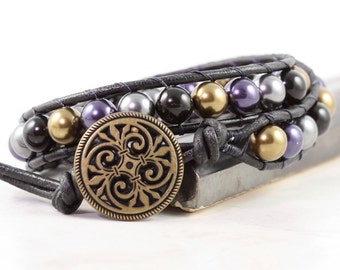 Gypsy Wrap Bracelet Black Leather Jewelry Purple Harlequin Gray Double Wrap Mardi Gras Beaded Bracelet Leather Jewelry Bohemian Bracelet