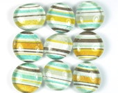 Glass Marble Magnets or Push Pins Set - Orange, Teal, Gray Stripe