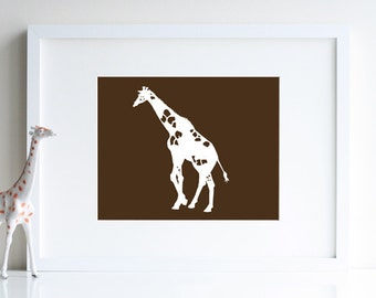 Modern Zoo wall art, giraffe decoration, 8 x 10 print - available in different sizes and colors