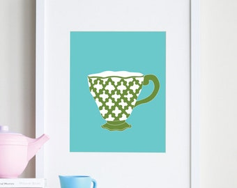 Baby girl room decor, colorful teacup art print 8 x 10 - customizable colors