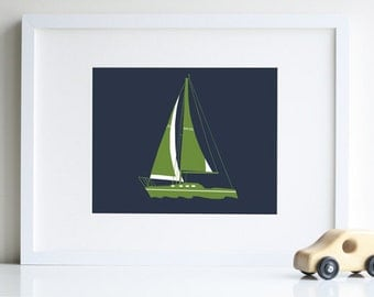 Nautical nursery decor, sailboat nursery art 8x10 print - different sizes and colors available