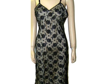 Black Lace full slip by Seamprufe B36 medium vintage 50s  slip