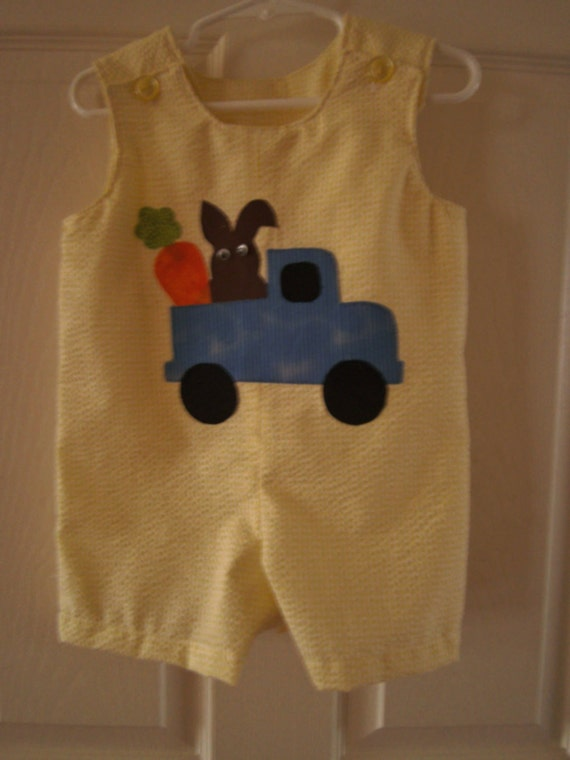 Boys Easter Jon Jon Sunsuit, Yellow Seersucker,  Appliqued Truck, Bunny, Babies Sunsuit, Toddler Sunsuit , 6 months-4T