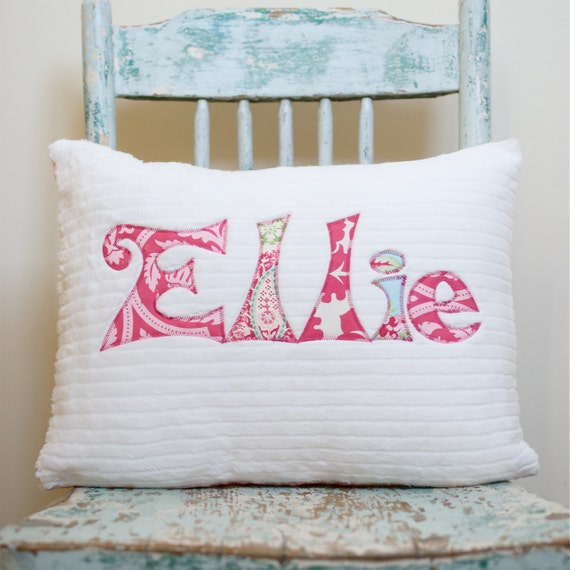 A Monogrammed Pillow for the Home and Nursery in BLOOM, Personalized with Your Baby or Toddler Girl's First Name in Pinks