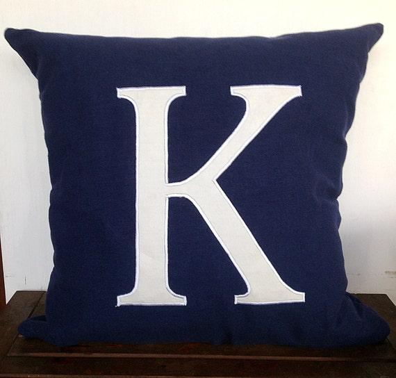 Monogram pillow cover -Navy Blue Monogrammed throw pillow ...