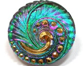 Peacock Czech glass BUTTON, Emerald green & purple pink swirl, 27mm.